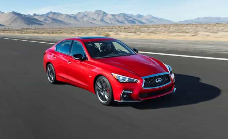 Infiniti Q50 Red Sport front 3/4 view