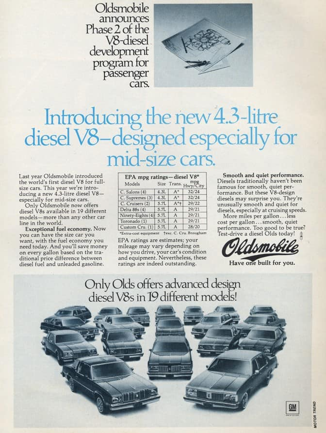 Oldsmobile Diesel engine demonized the oil burner in the eyes of Americans