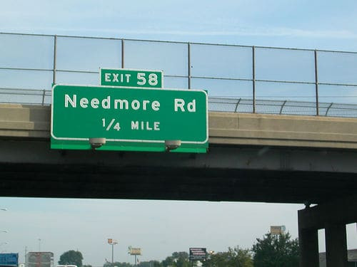 Needmore Rd. road sign