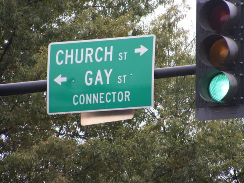 Street sign Church - Gay St. connector is the funnies road sign you'll ever see