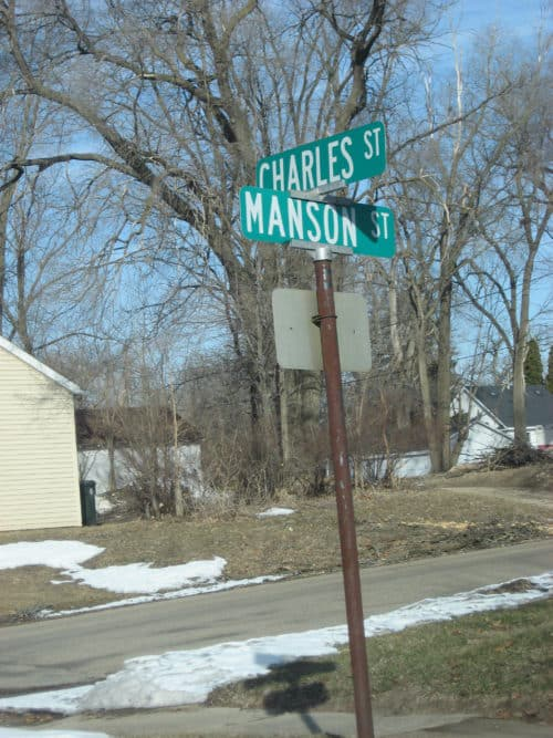 Street sign Charles - Manson St is the scariest road sign of them all