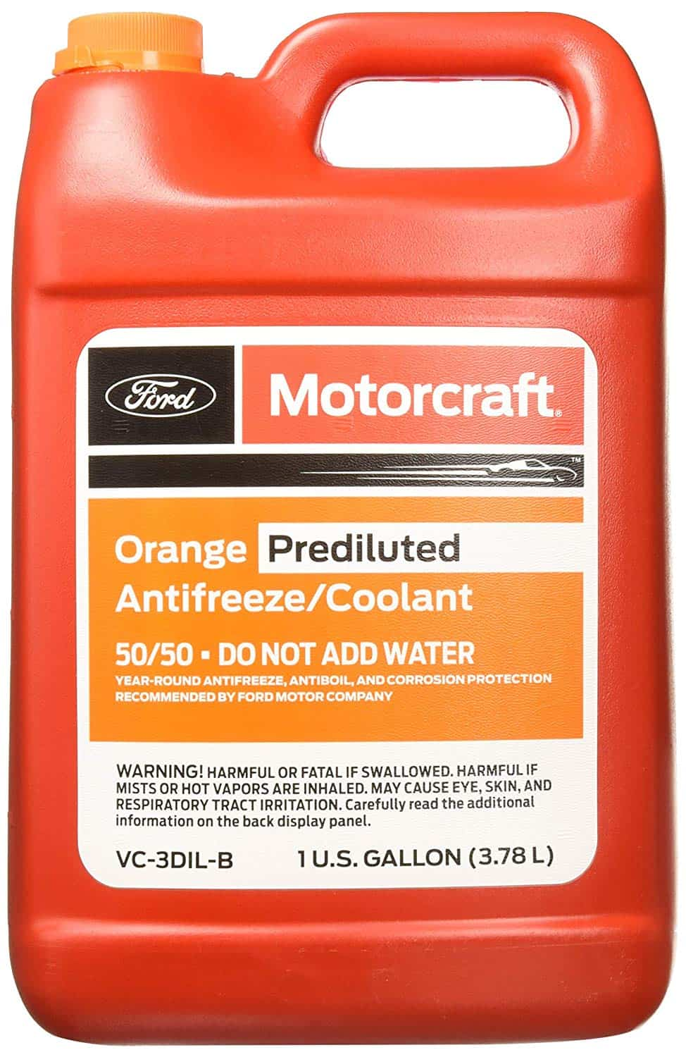 Bottle of Ford orange prediluted coolant