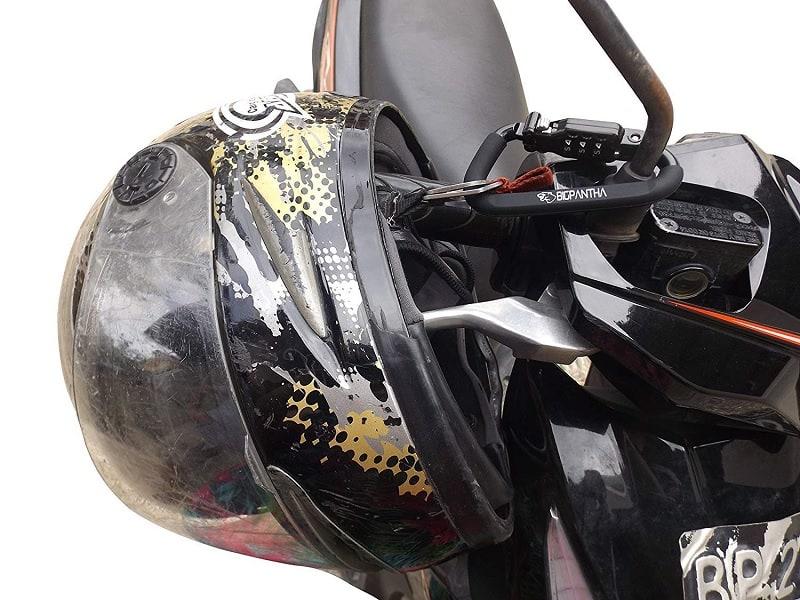 Motorcycle Helmet Locked To Handlebar