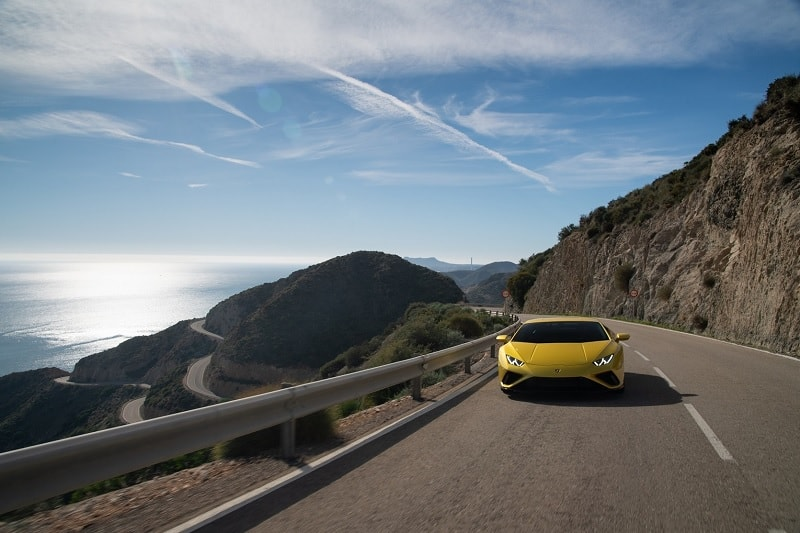 2021 Lamborghini Huracan EVO RWD Driving On A Coast Road