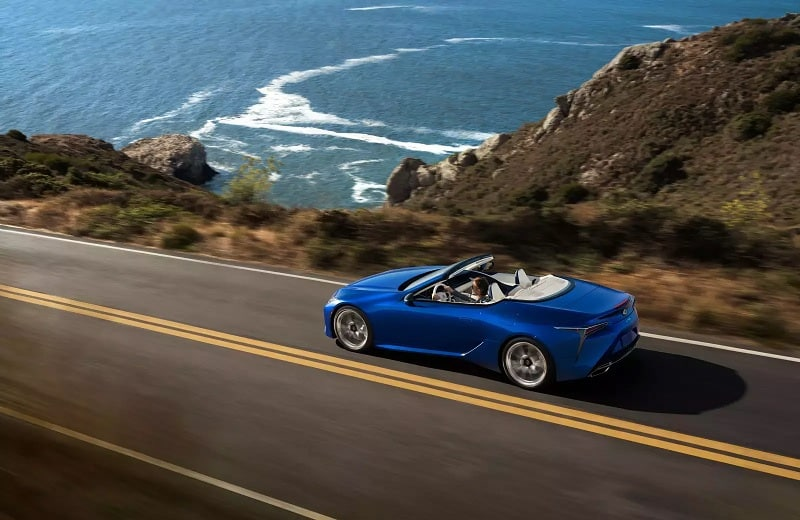 2021 Lexus LC500 Convertible Driving Along The Coast