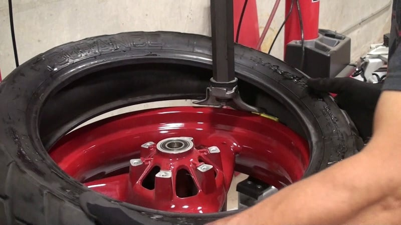 Tire being changed