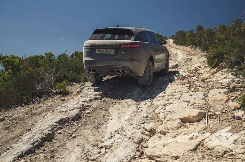 Range Rover Velar rear end off-road