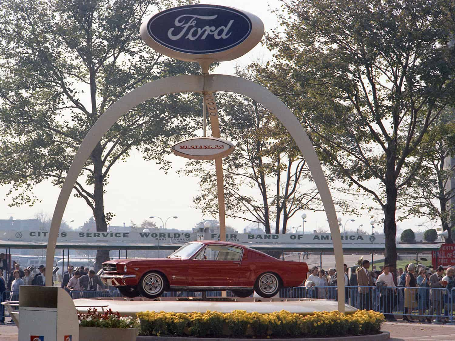 Ford Mustang on display stand at 1964 NY Worlds Fair