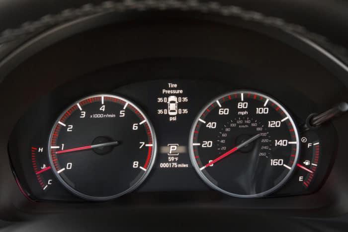 Acura dash with tire pressure monitor screen
