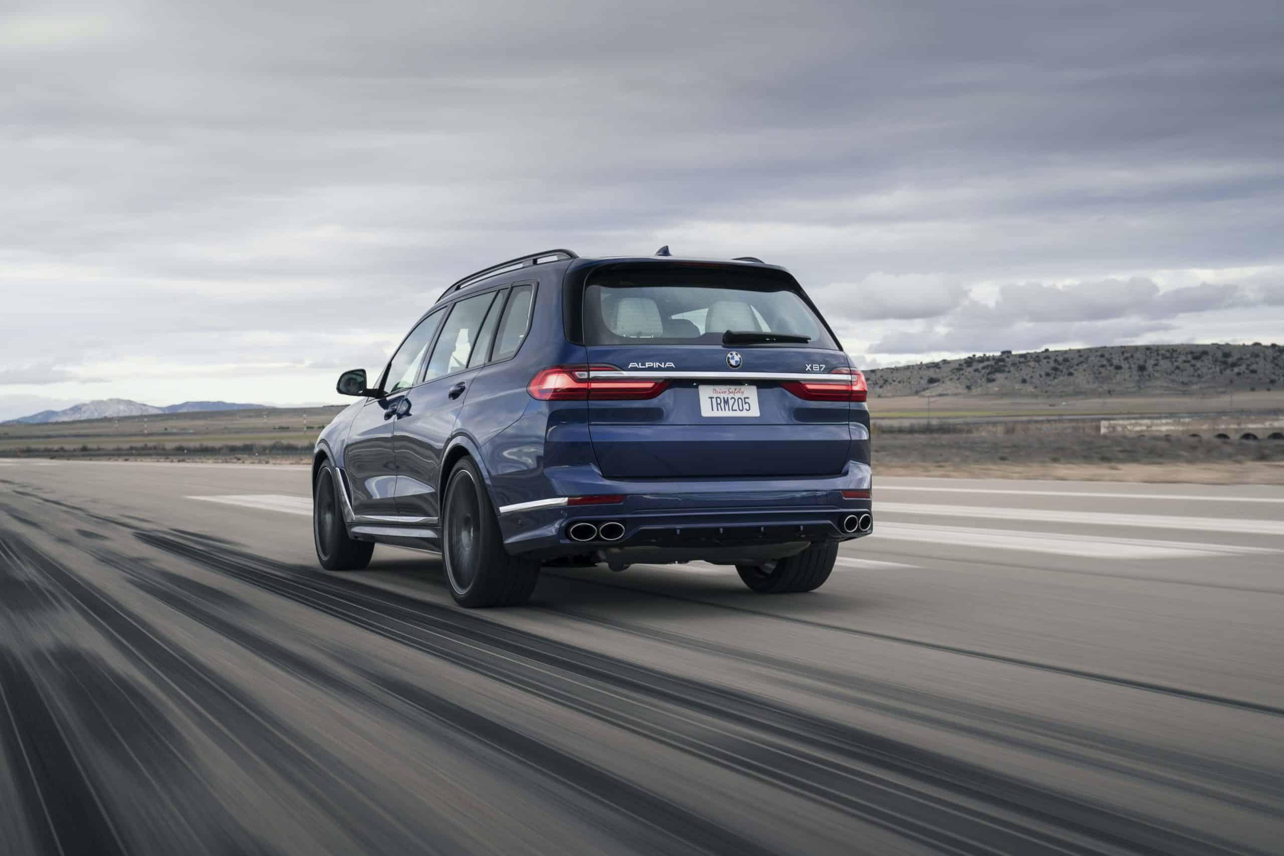 2021 BMW Alpina XB7 rear three quarter rolling shot
