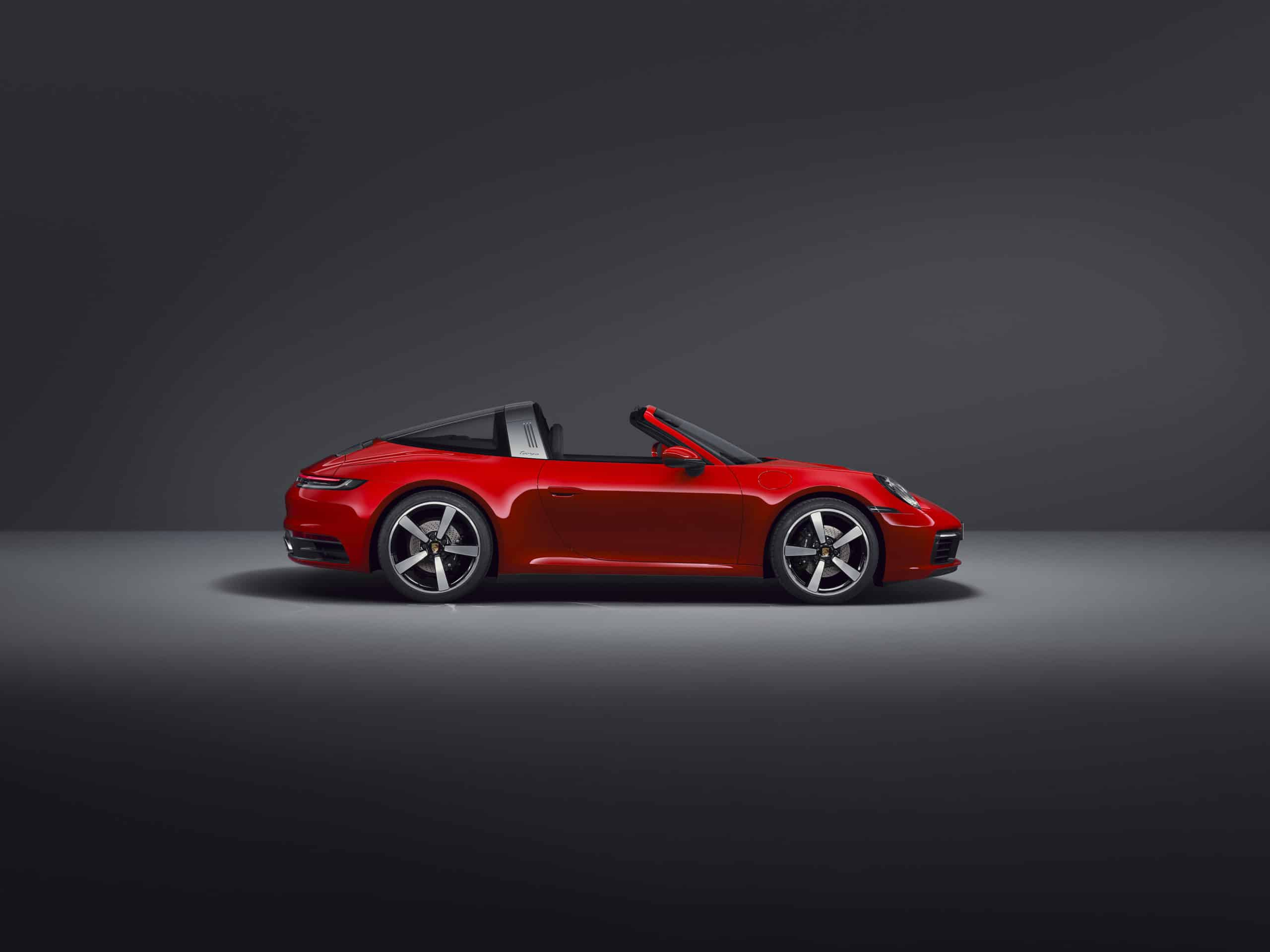 2021 Porsche 911 Targa 4 red studio side view