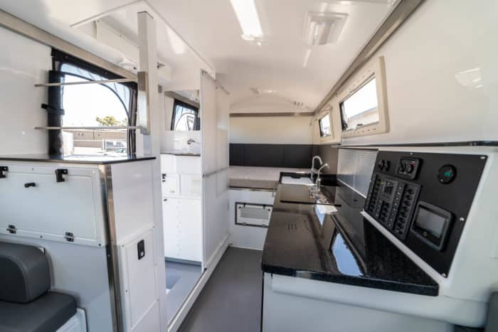 EarthCruiser FX cab interior showing command center