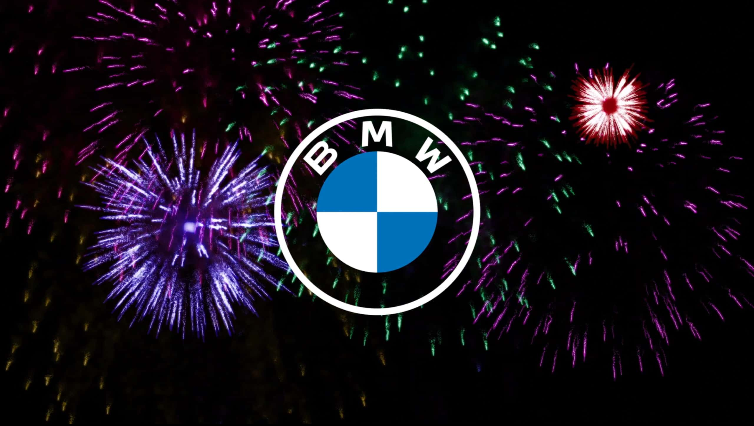 new bmw logo with fireworks