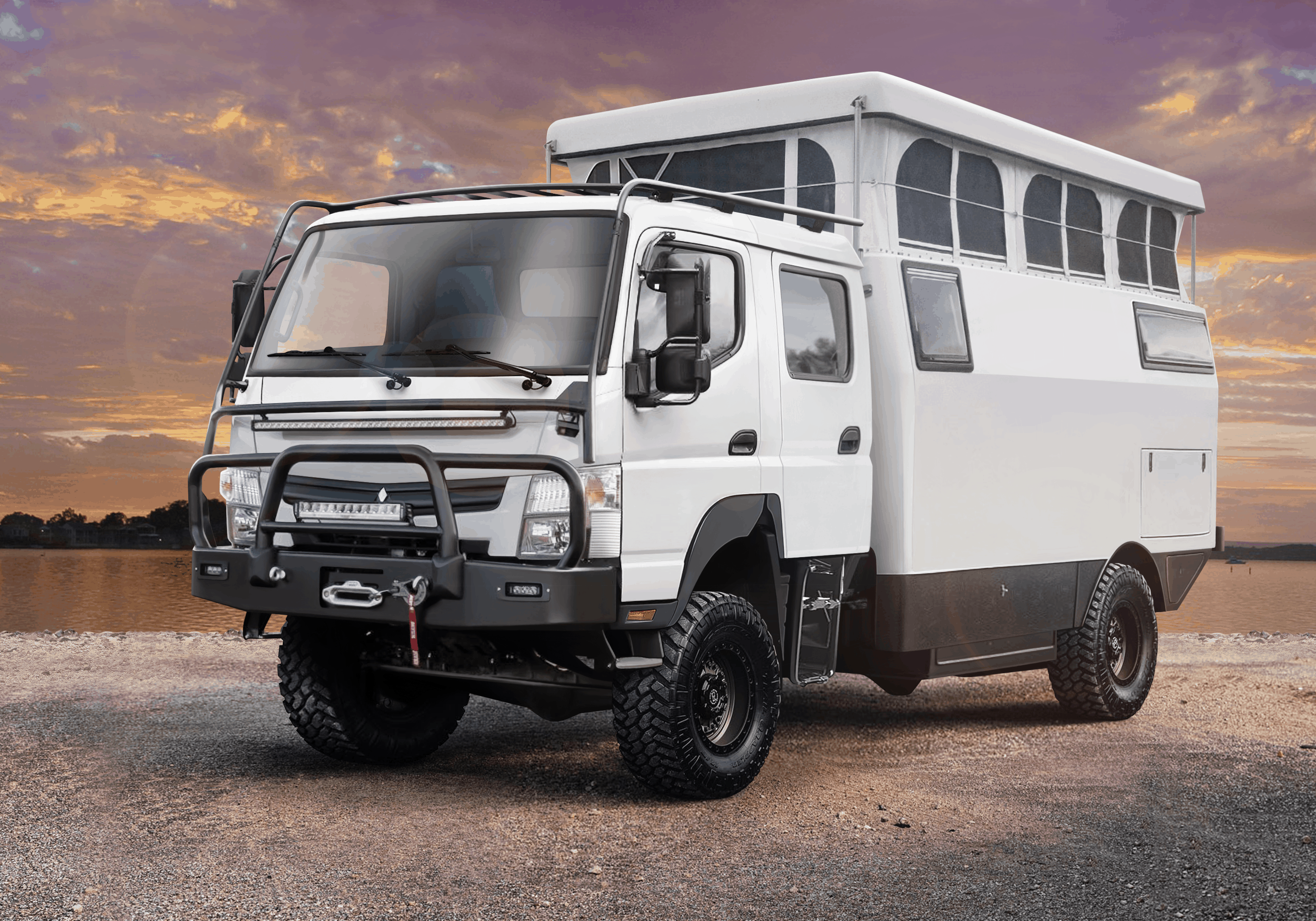 EarthCruiser EXP Mitsubishi Fuso Dual Cab 4x4 with top popped