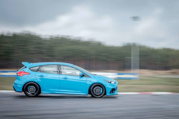 Ford Focus RS hot hatch on the race track