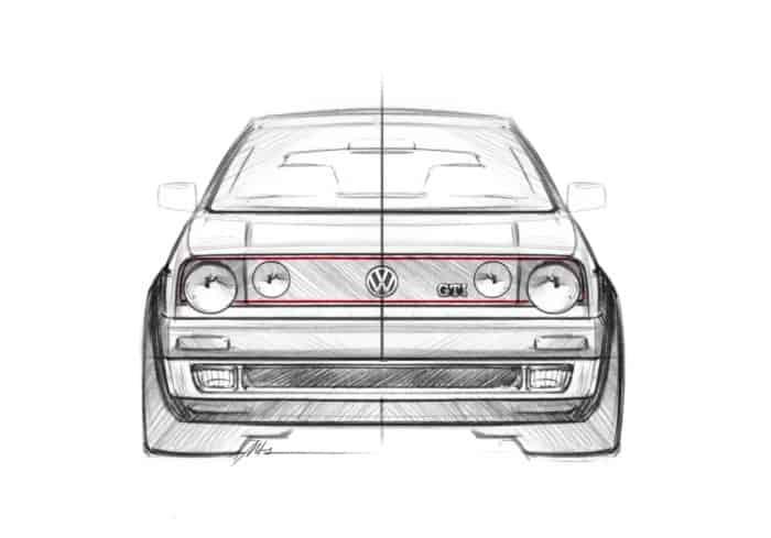 Golf GTI Mk2 front sketch