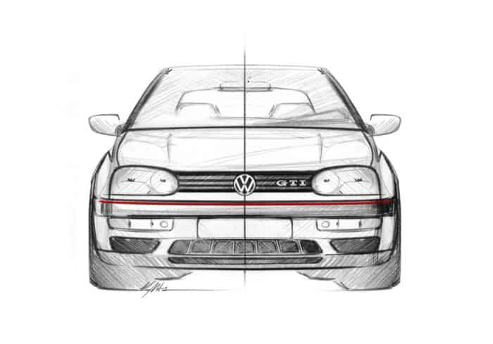 Golf GTI Mk3 front sketch