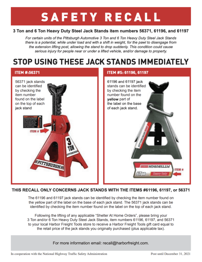 Harbor Freight Pittsburgh Automotive 3 ton and 6 ton jack stand recall