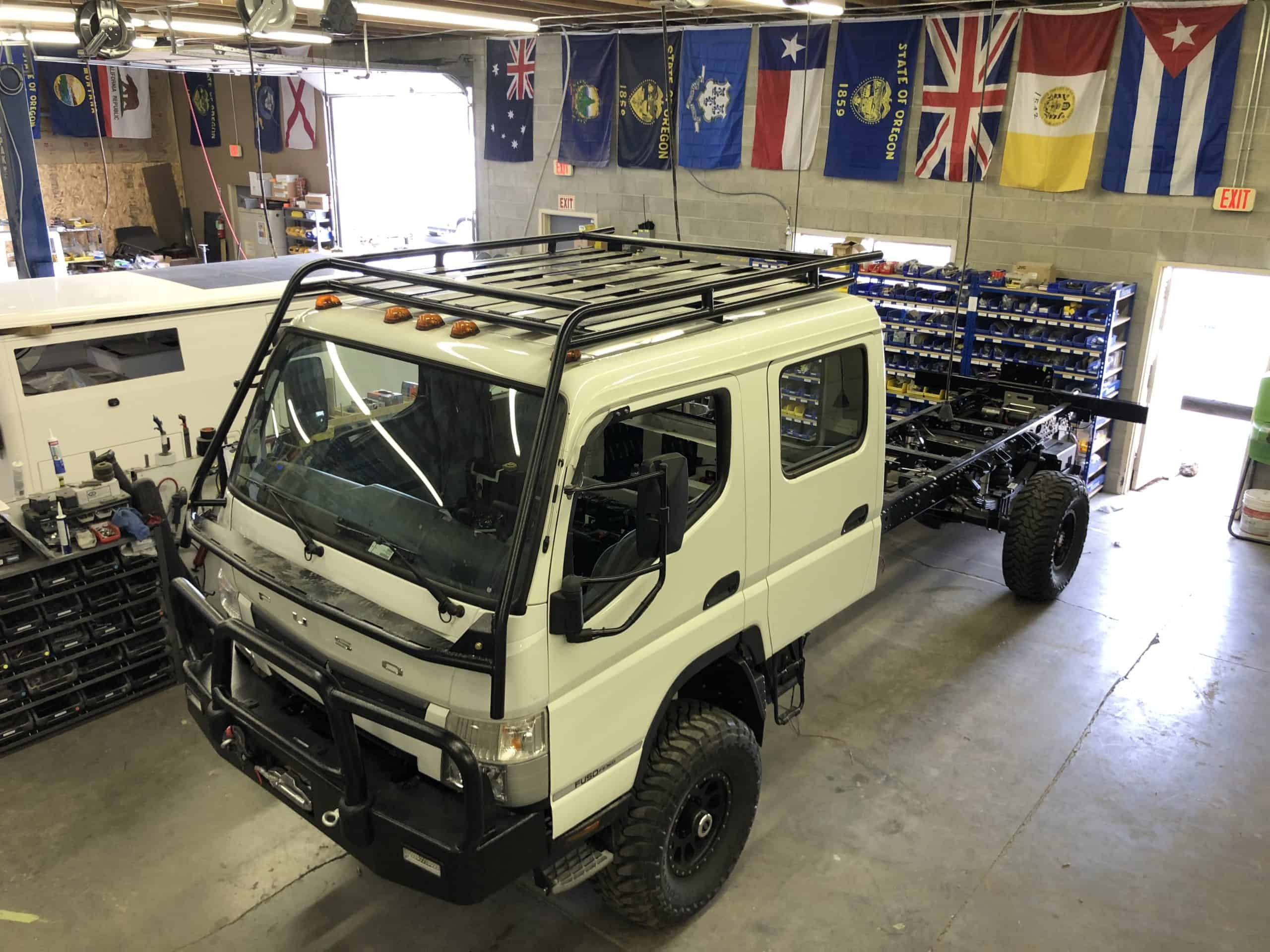 EarthCruiser Dual Cab Fuso 4x4 Chassis in shop