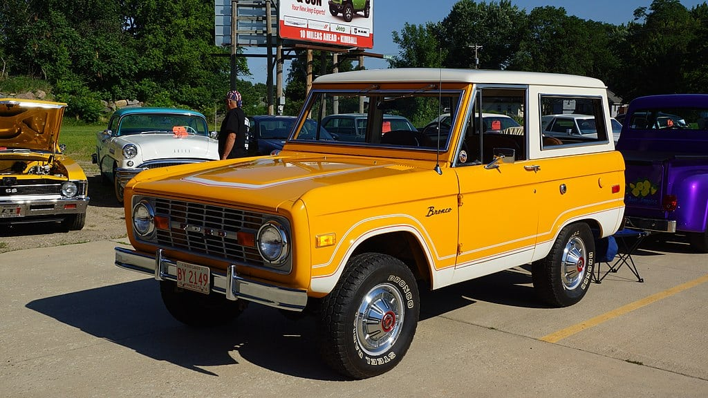 1975 ford bronco yellow with white top vintage suv