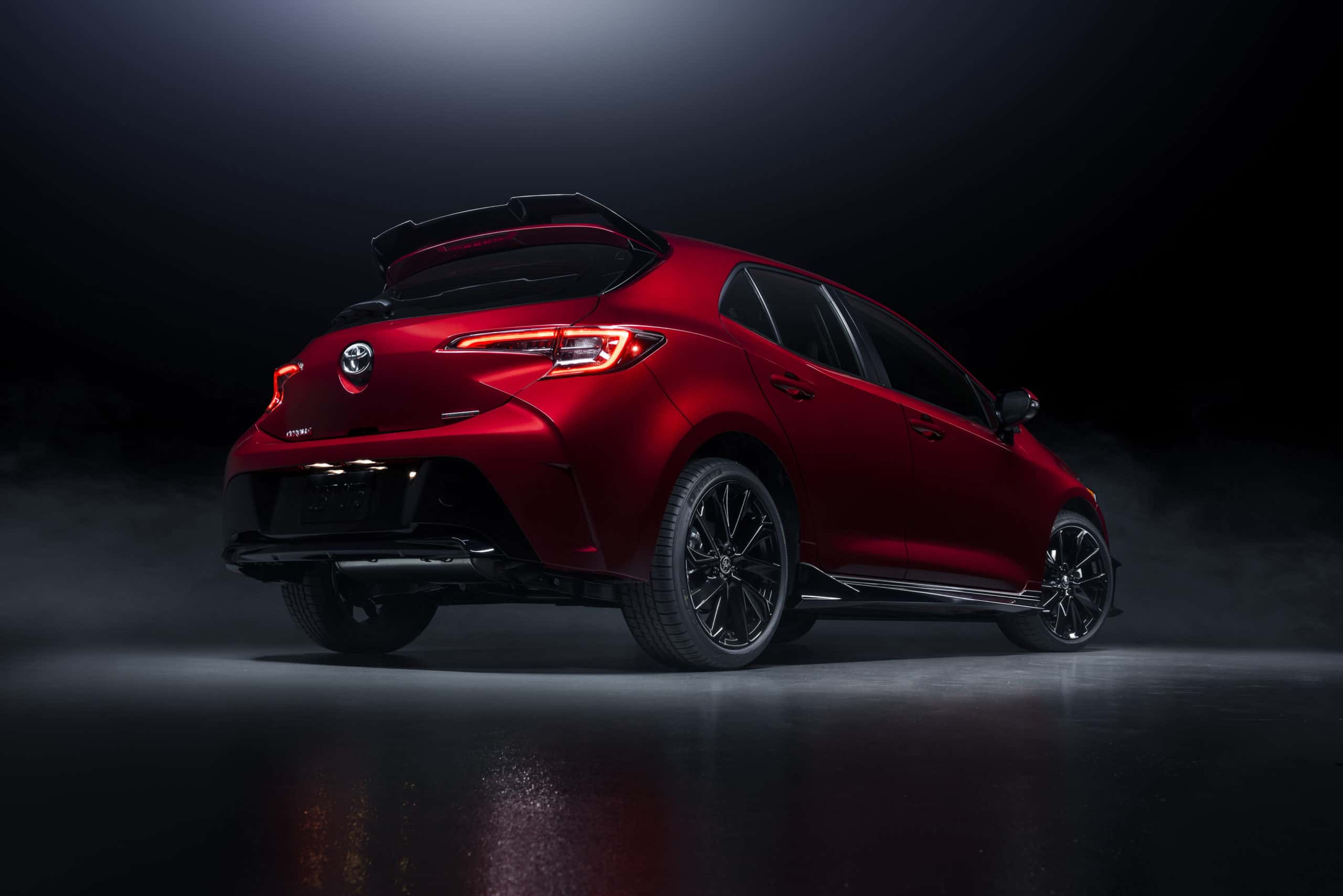 2021 Toyota Corolla Hatchback Special Edition rear three quarter studio photo