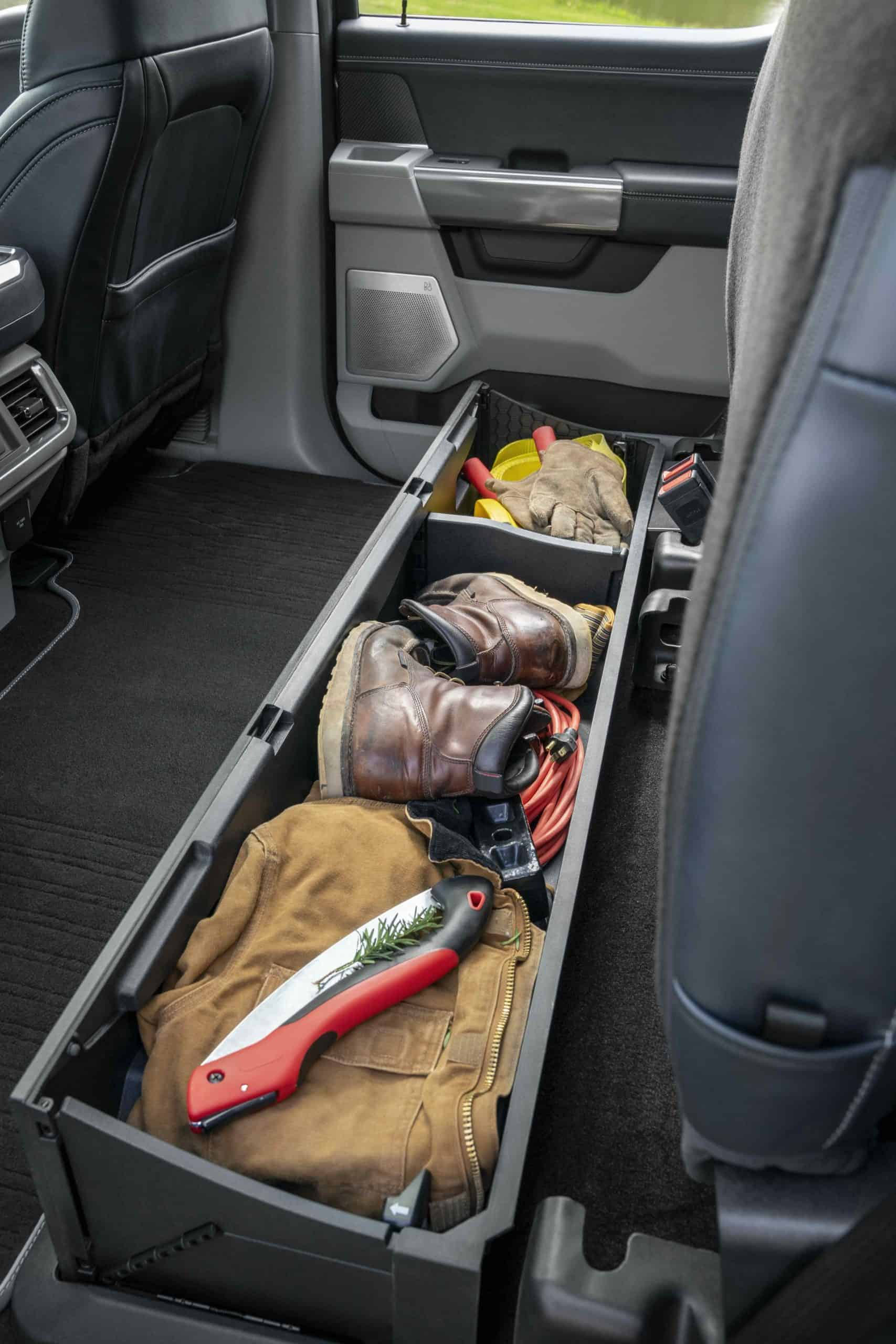 under rear seat storage box