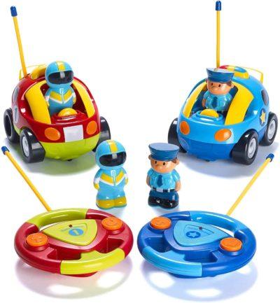 Prextex Cartoon R/C Police Car and Race Car Radio Control Toys for Kids