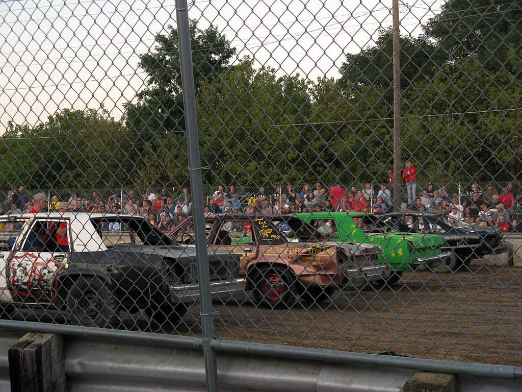 big demo derby cars at start