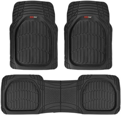 Motor Trend MT-923-BK Black FlexTough Contour Liners-Deep Dish Heavy Duty Rubber Floor Mats