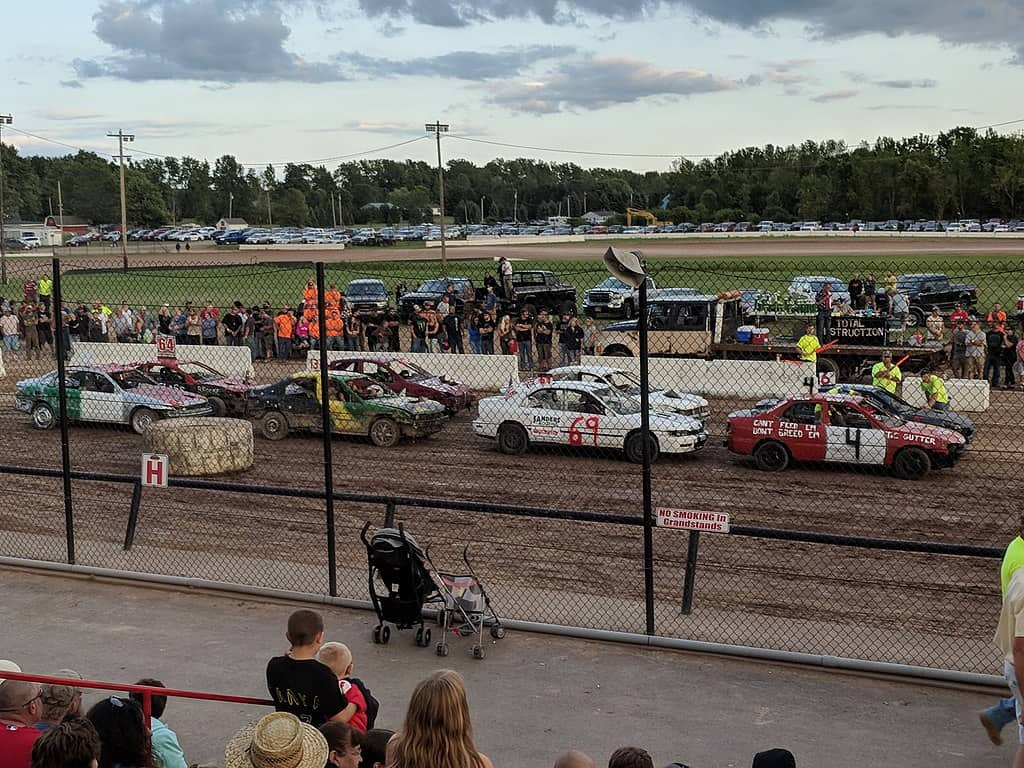 small demolition derby cars at event start