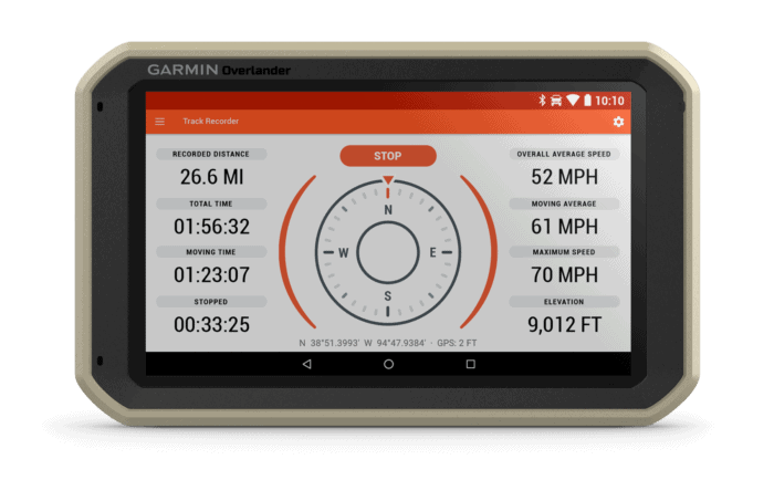 Garmin Overlander track recorder screen