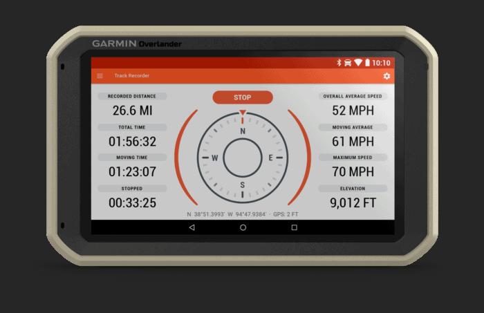 Garmin Overlander track recorder screen