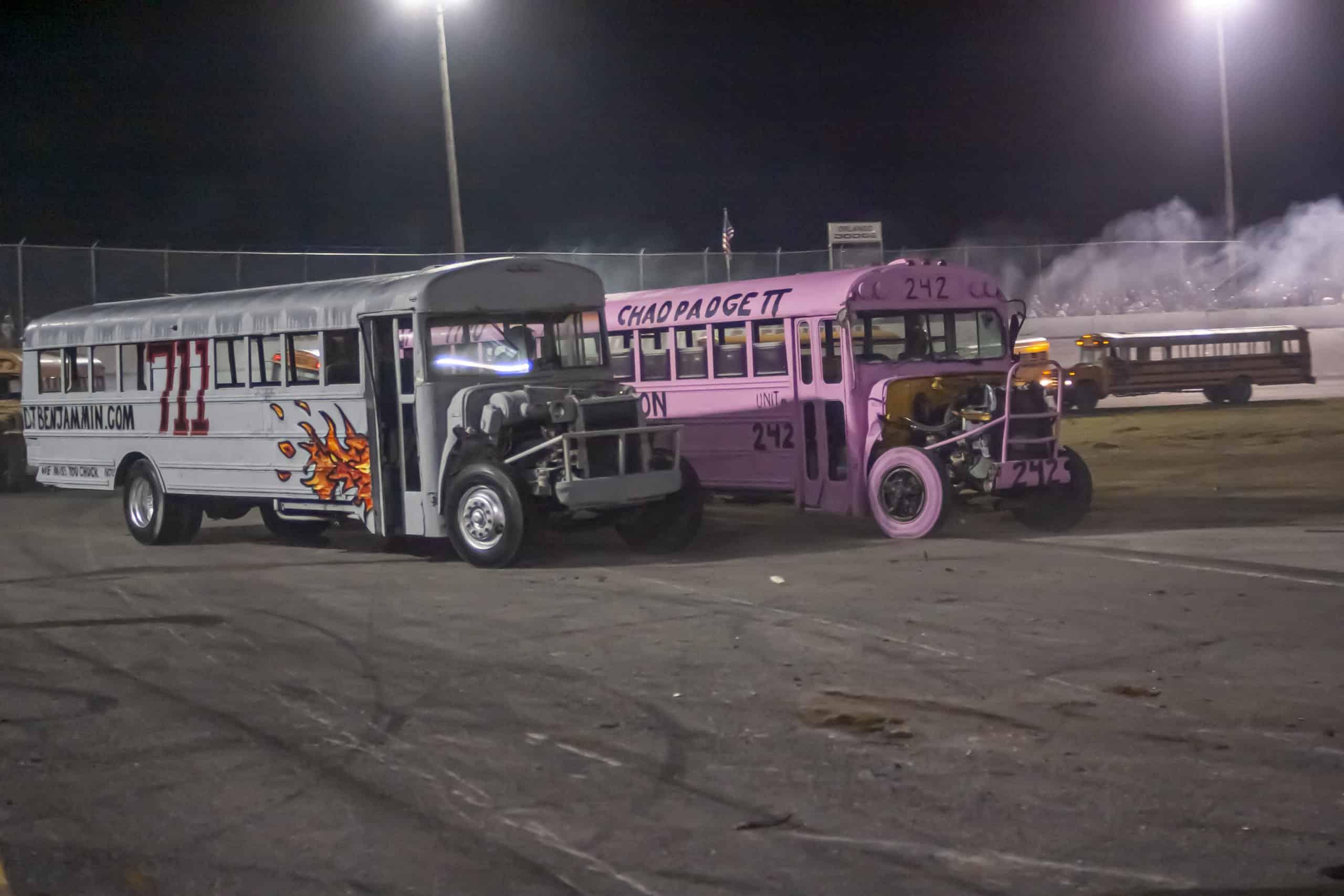wheel to wheel school bus racing
