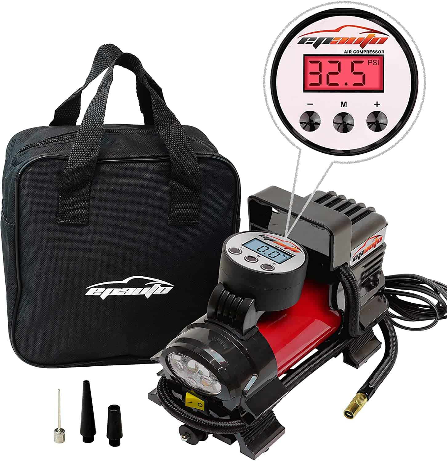 gifts for car loving dads EPAUTO 12V DC Portable Air Compressor Pump With Pressure Gauge