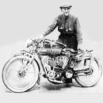 1912 image of Edwin Cannonball Baker after completing his transcontinental journey on Indian motorcycle