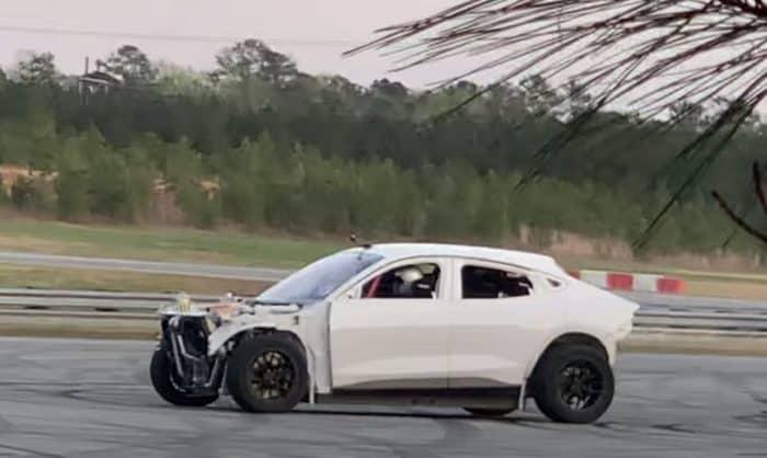 Mach E drift car driver side spy photo