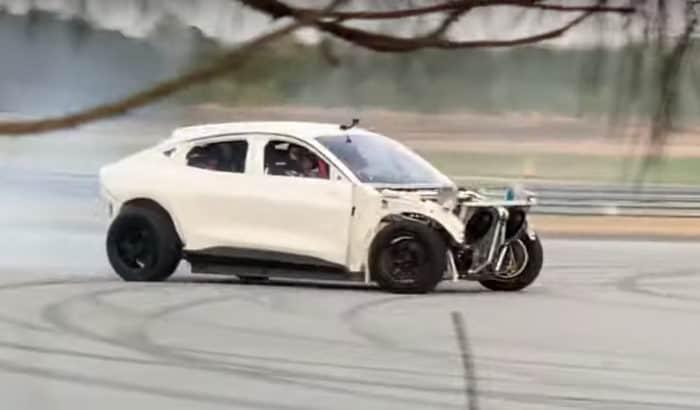 Mach E drift car passenger side spy photo