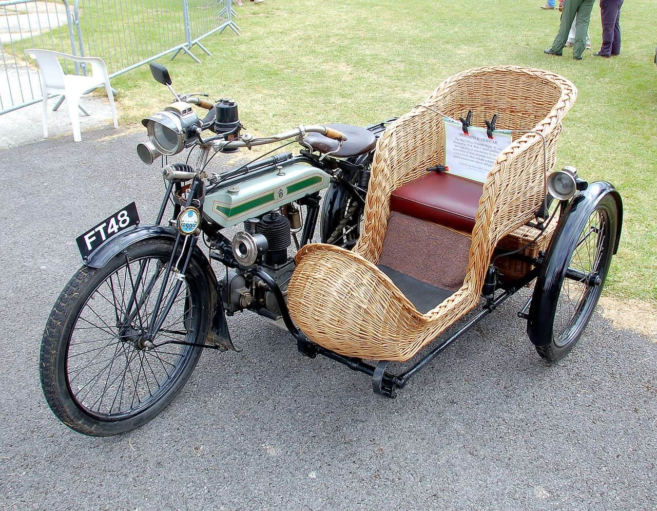 1914 Triumph Model H motorcycle with sidecar
