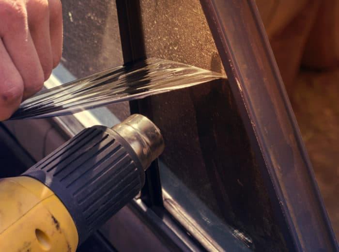 remove window tint with heat gun