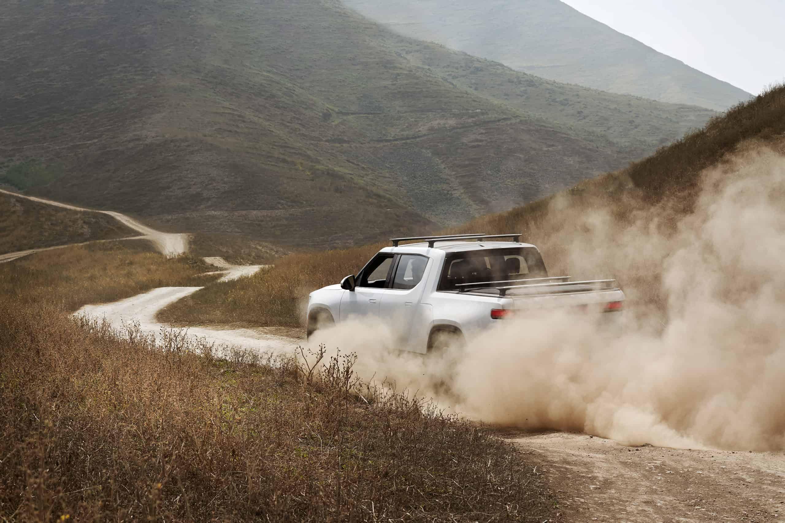 Rivian R1T on dusty road