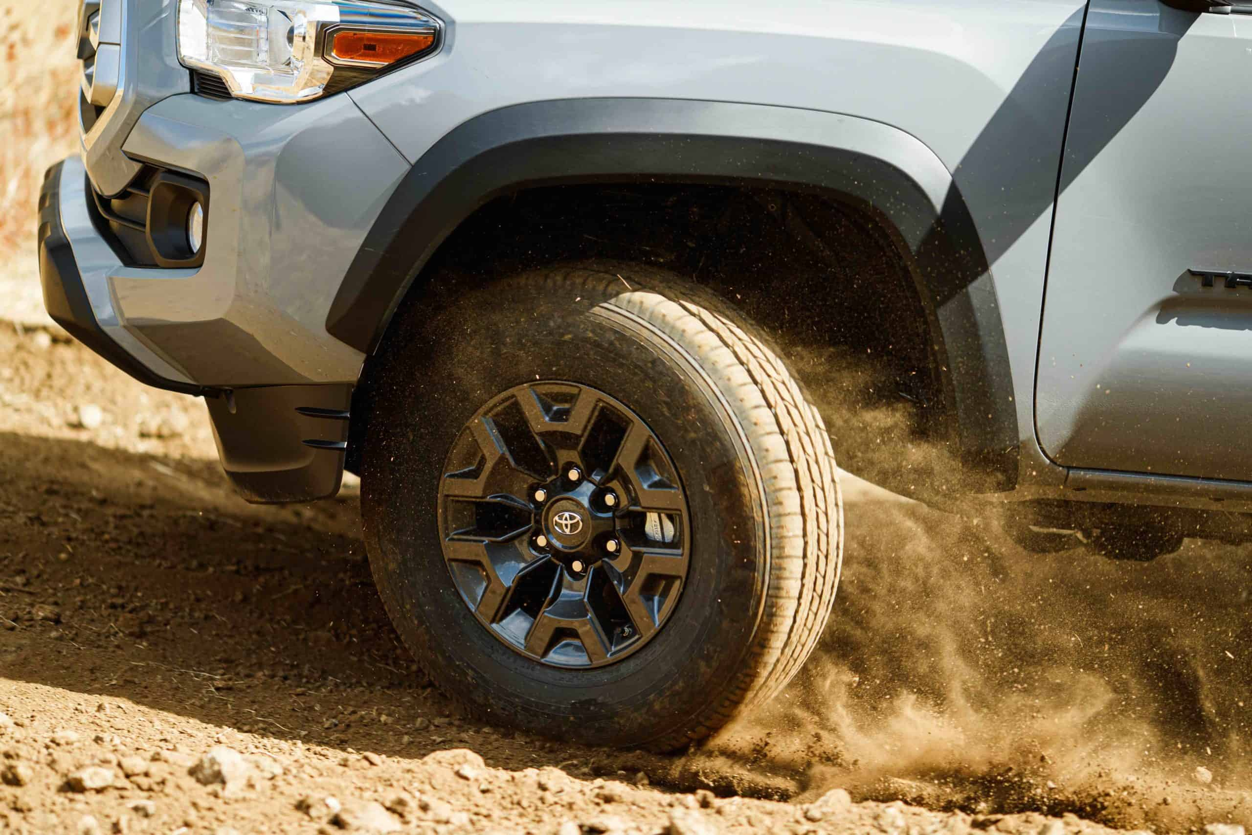 2021 Toyota Tacoma Trail Special Edition tires and dust
