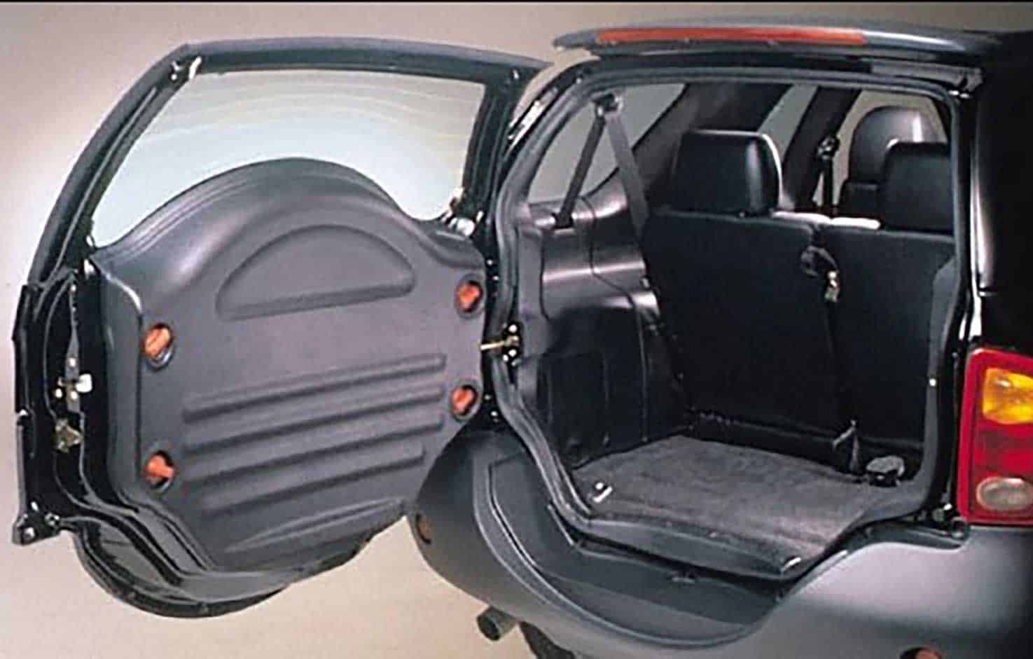 Spare tire is accessed from inside the vehicle