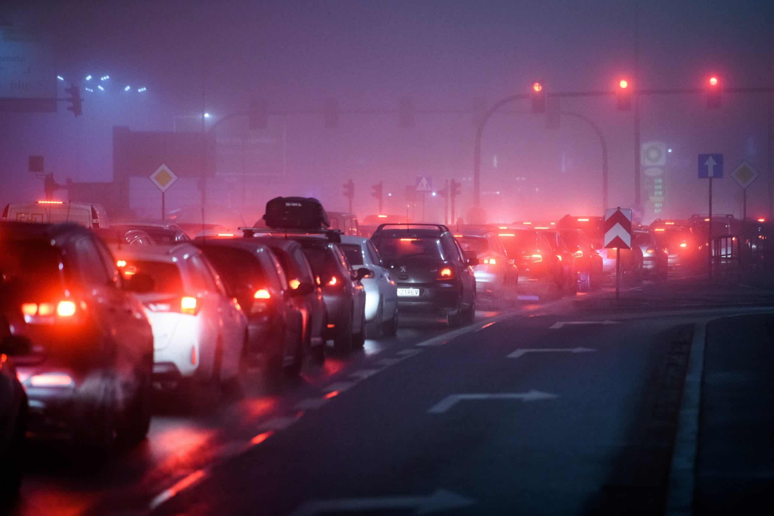Night traffic jam at red light