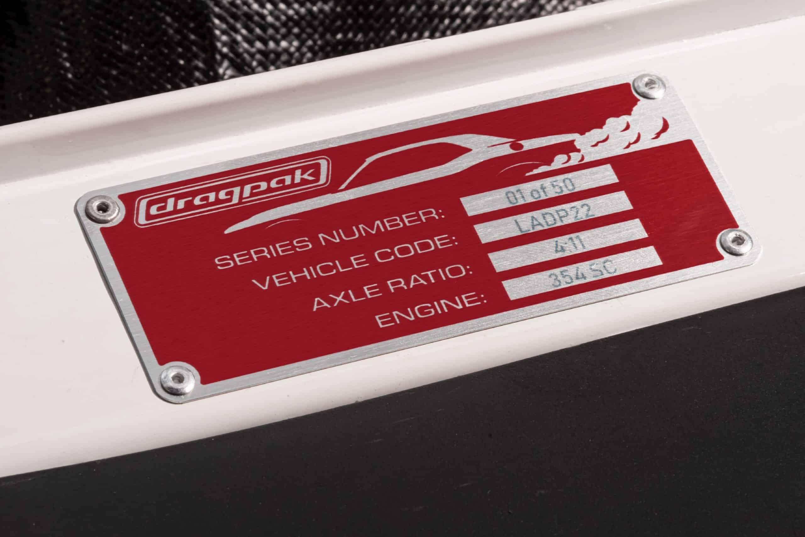 Dodge Challenger Mopar Drag Pak code tag
